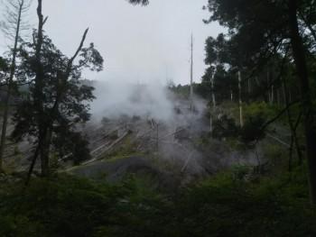 【大涌谷と早雲山駅の間で見た光景(Volcanic Steam)】