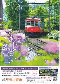 「あじさい電車」(Hydrangea Train of Hakone Tozan Railway)